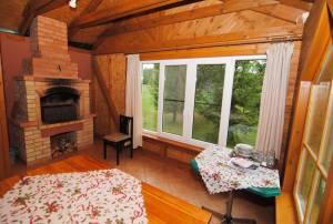 Gazebo with a fireplace